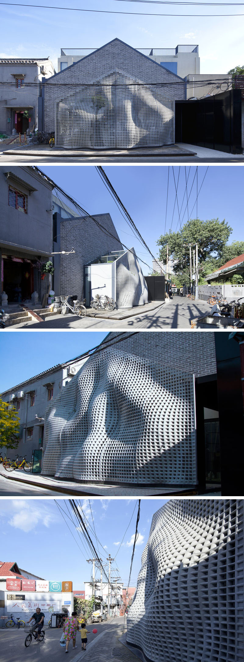 During the day, the sculptural concrete panels on this house look like a flowing piece of fabric. #SculpturalFacade #Architecture