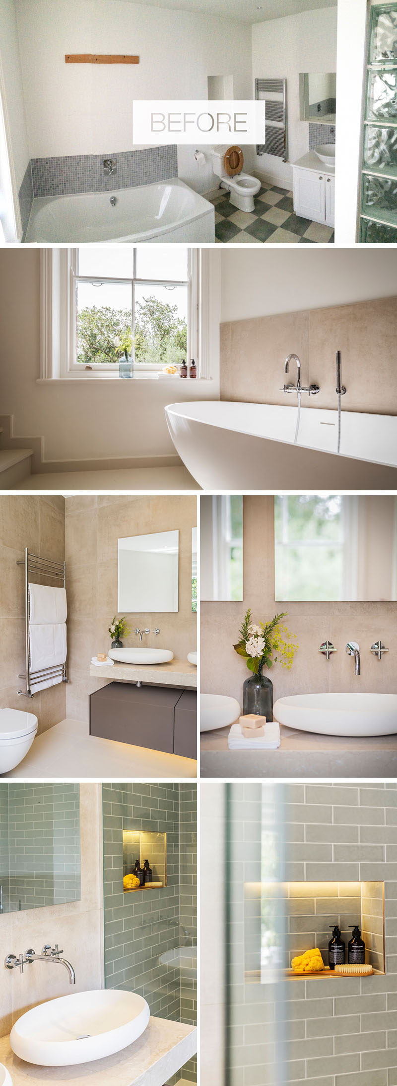 This renovated bathroom has a freestanding bathtub, new matte tiles on the floors, walls and ceiling, a new wall hung vanity, and a shower with polished ceramic tiles. #BathroomRenovation #ModernBathroom
