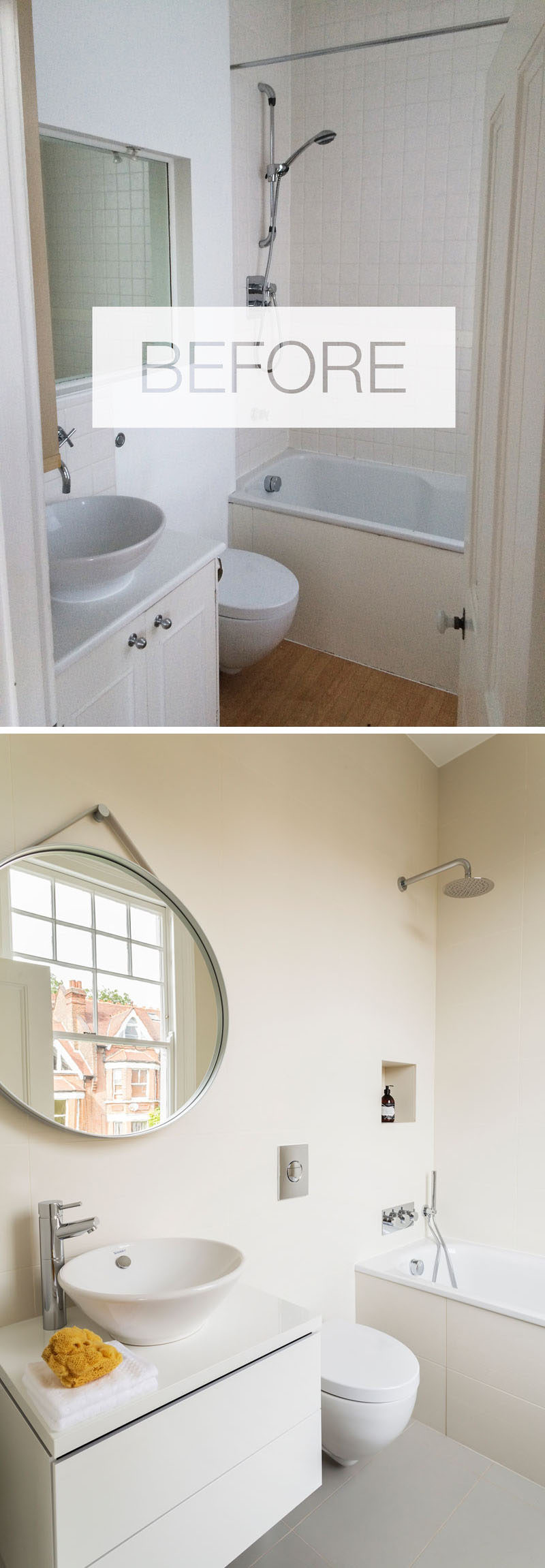 This updated bathroom design includes new flooring, a wall hung vanity unit, a round hanging mirror and a new bath with a rainfall shower head. #ModernBathroom #RenovatedBathroom