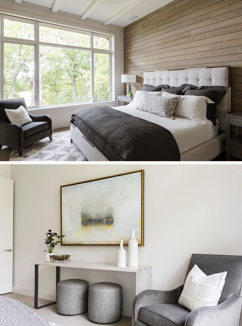 In this contemporary bedroom, a wood accent wall adds a soft natural touch to the room. #BedroomDesign #WoodAccentWall