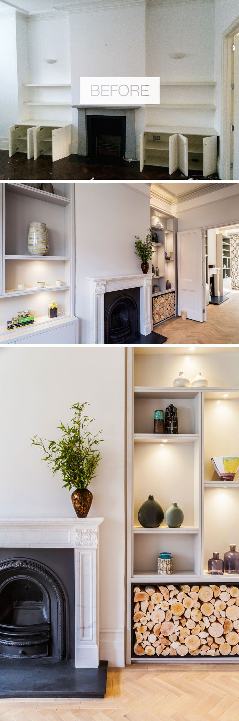 On the main floor of this refurbished house, there's two connecting reception rooms that were updated with bespoke joinery,light greyed oak parquet floors and traditional white marble fireplaces, one of which has a wood burning stove installed. #RenovatedInterior #InteriorDesign #Shelving #Fireplace
