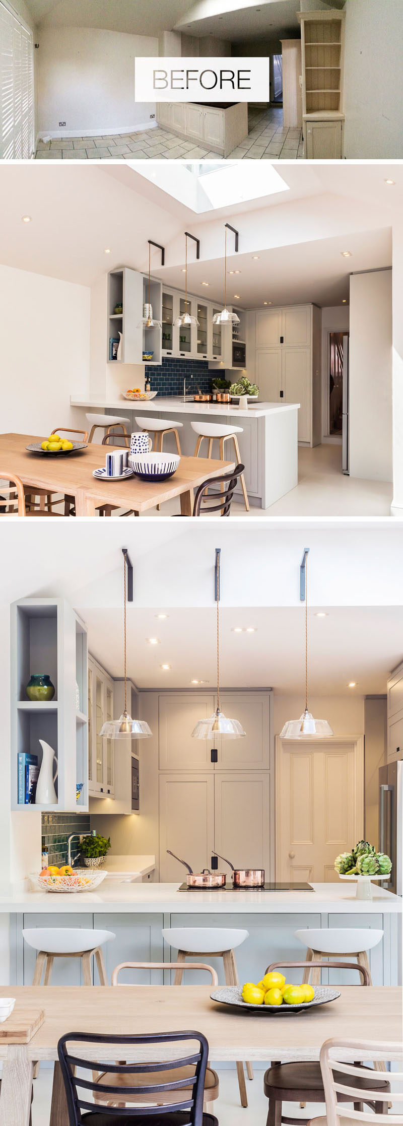 To add additional light to this renovated dining and kitchen space, the designers fabricated bespoke metal brackets from which to suspend 3 glass pendant lights which hover over the counter. #RenovatedKitchen #DiningRoom