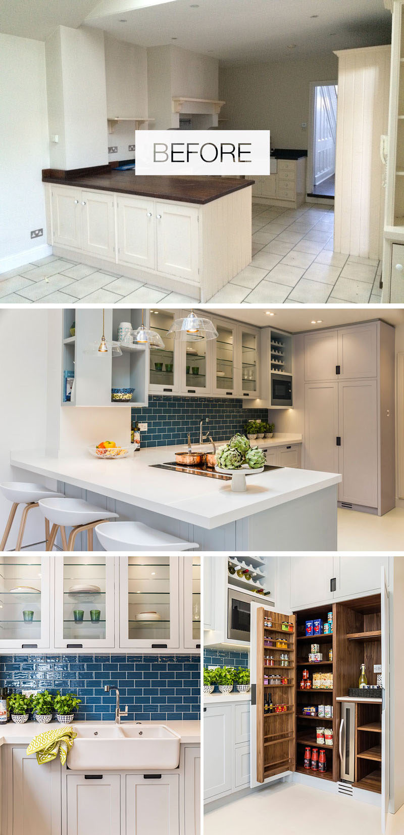 In this kitchen renovation, bespoke light grey cabinets are combined with a deep blue tile backsplash and a white countertop. A large pantry includes space for a wine fridge and tea/coffee making space. #KitchenRenovation #ContemporaryKitchen