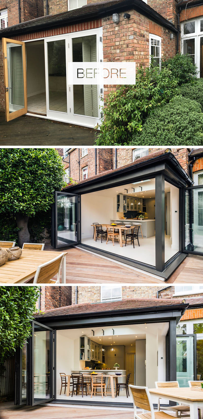 In this house renovation, folding sliding doors in dark grey aluminium replaced the original doors and opened up the interior to the garden, creating an indoor/outdoor living environment. #Renovation #Indoor/OutdoorLiving