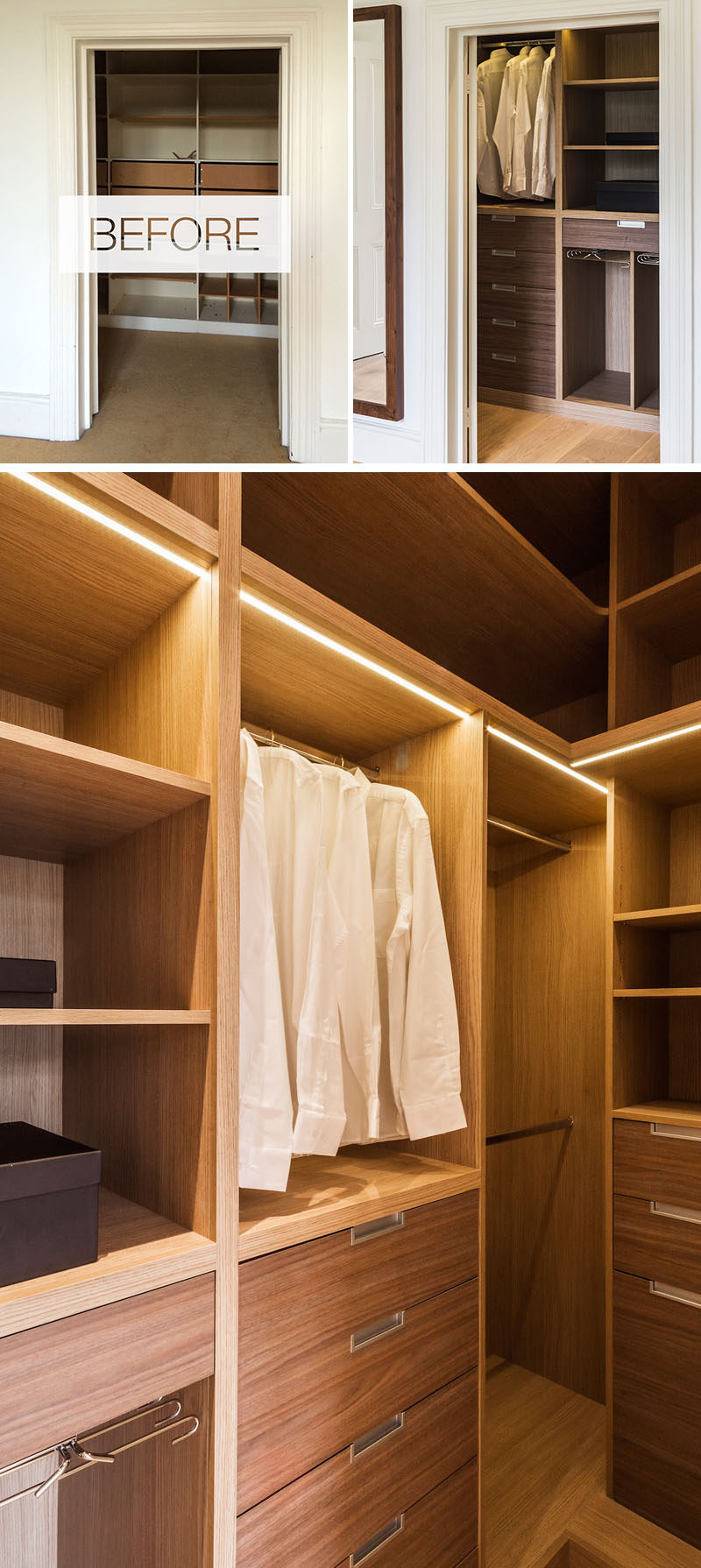 This updated dressingroom was re-designed with bespoke oak full height units to make the most of the space.#WalkInCloset #DressingRoom