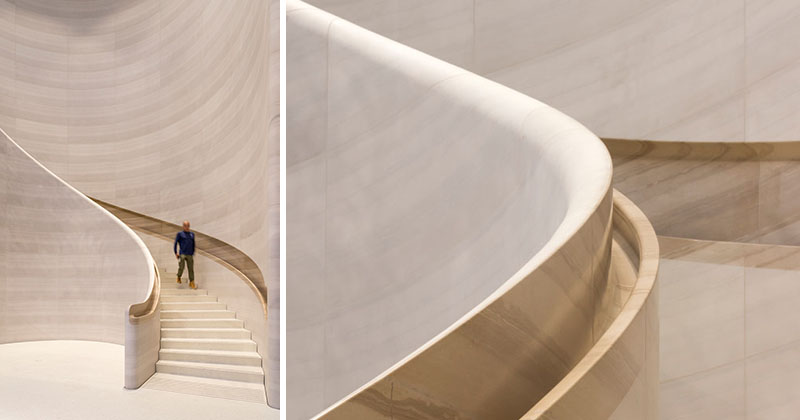 A Hand Carved Stone Staircase Adds A Sculptural Touch To