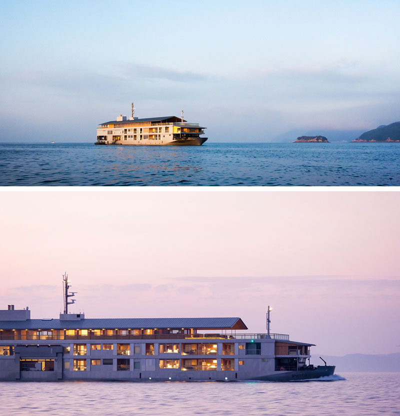 Japanese architect Yasube Horibe has designed a boutique nineteen-room floating hotel named Guntû, that makes its home in theSeto Inland Sea. #FloatingHotel #Japan