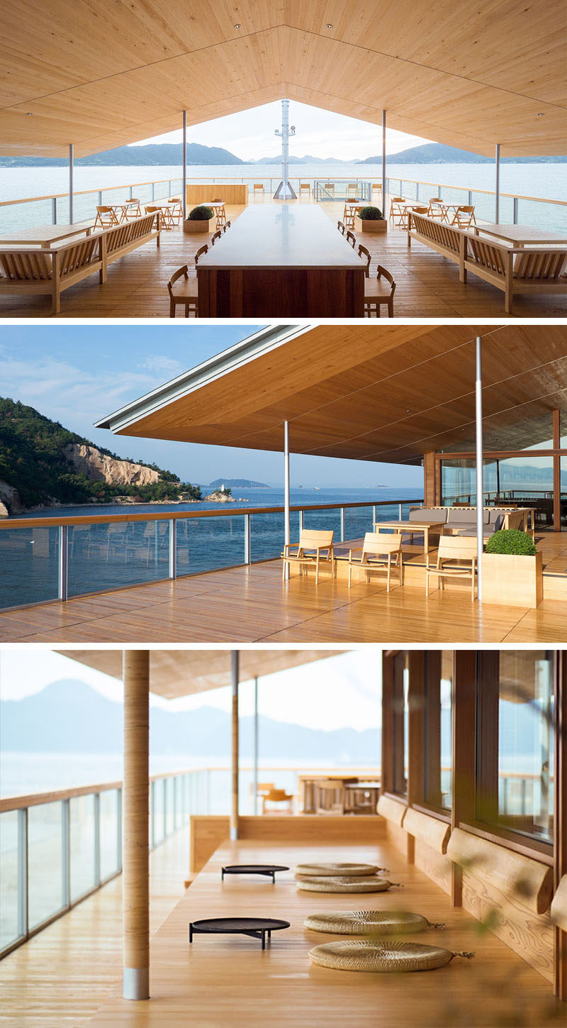 This modern floating hotel in Japan has a large rooftop deck with outdoor lounges, a bar and plenty of space to take in the water views. #FloatingHotel #Japan