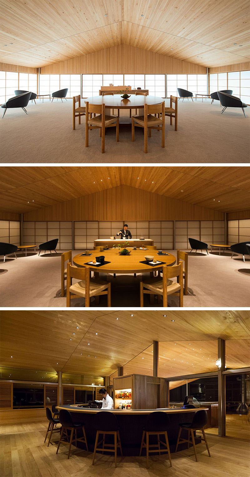 This modern floating hotel in Japan has an indoor lounge with a striking peaked wood ceiling and a curved bar. #FloatingHotel #WoodCeiling #Japan