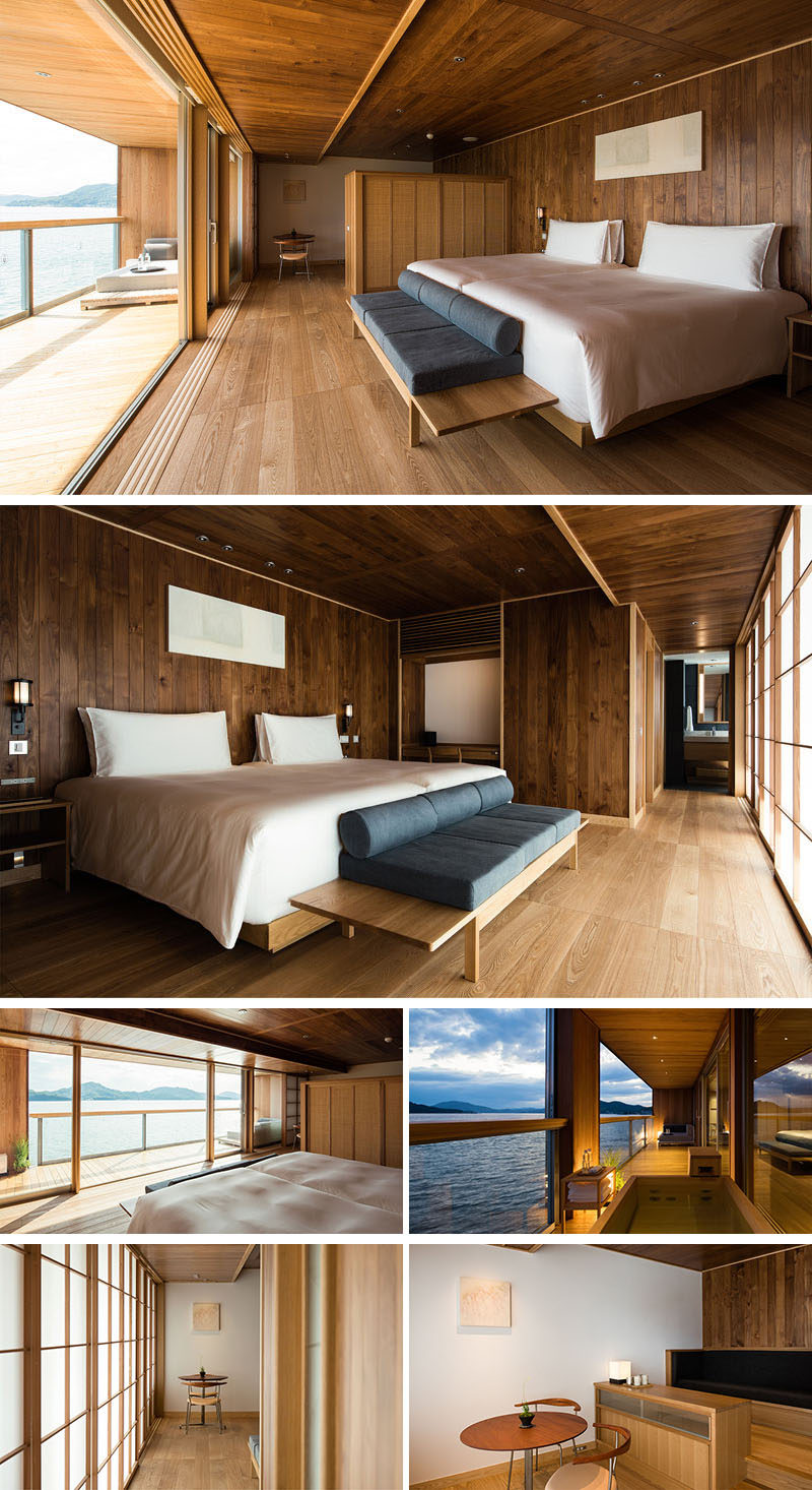This modern hotel room has wood paneling as well as wood flooring, while most of the furniture is also made from wood. #ModernHotelRoom #FloatingHotel #Japan #Wood