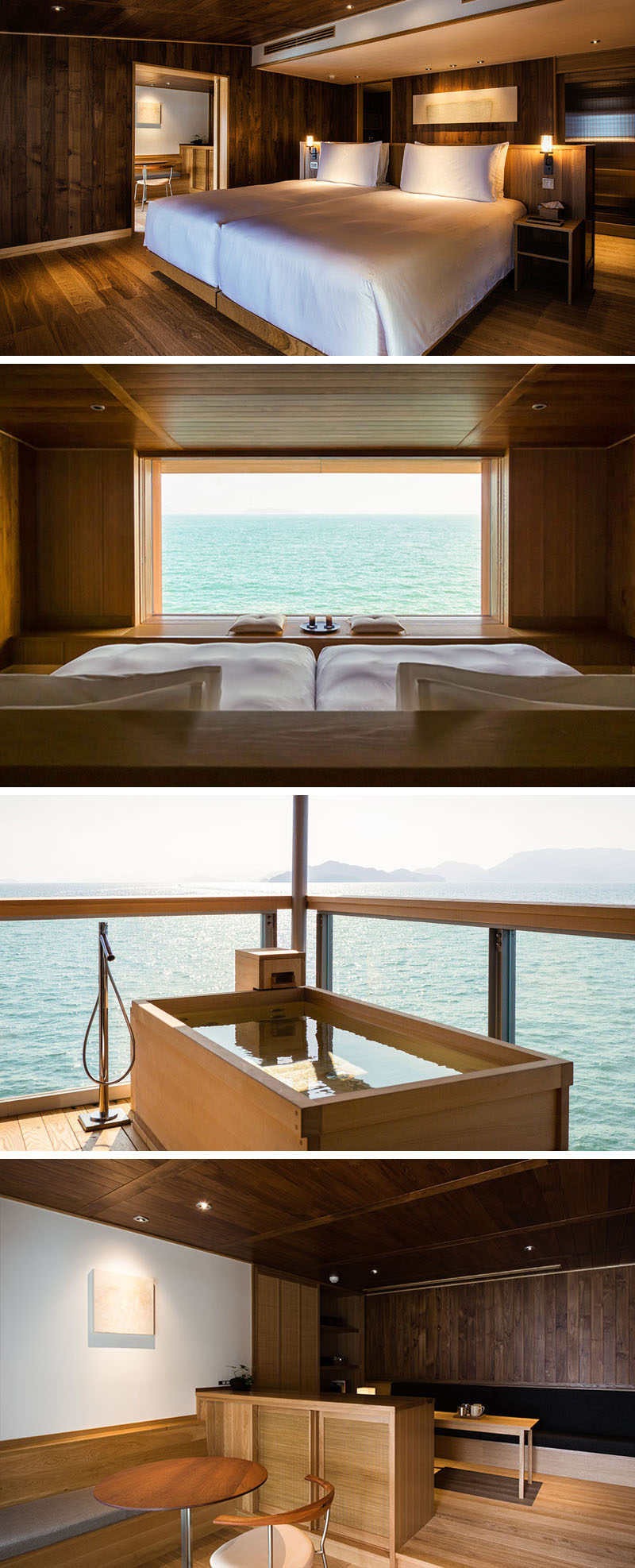 In this modern hotel suite, a pony wall has been used to create a headboard for the bed. Off to the side is a small bar area, while outside and on the balcony is a private deep soaking tub. #ModernHotelSuite #FloatingHotel #Japan