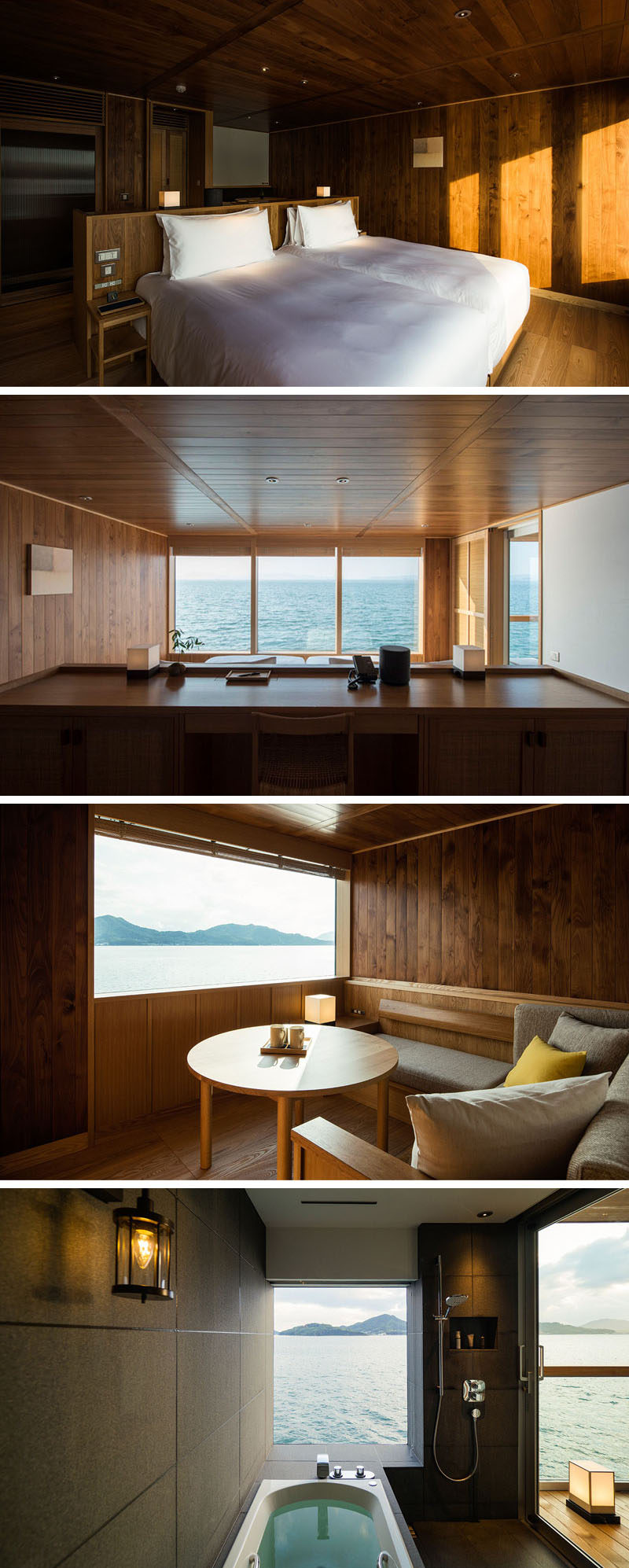 In this modern hotel room, a pony wall creates a separation between the bed and a desk area that's raised to take advantage of the view. This suite also has a built-in semi-outdoor lounge and a bathroom with grey walls and windows that let the natural light in. #ModernHotel #FloatingHotel #Japan