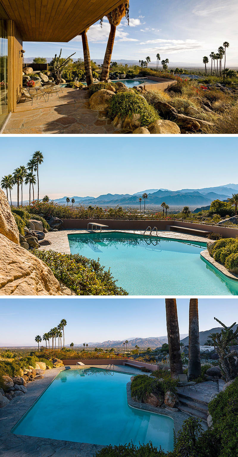This mid-century modern house has a patio that leads down to the swimming pool and garden. Vast views of the desert and mountains can be seen all around. #Patio #SwimmingPool #MidCenturyModern