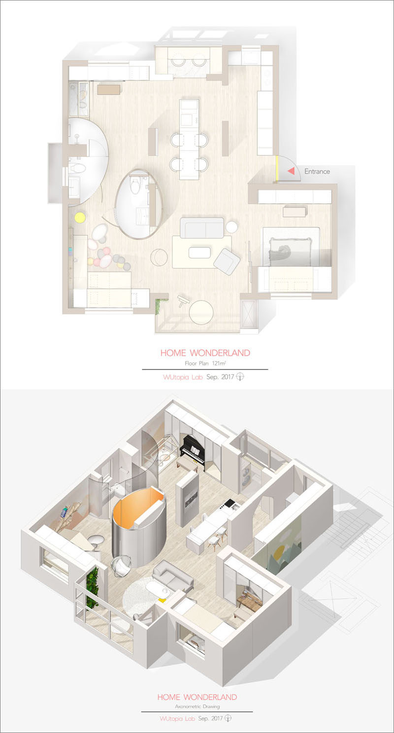 Wutopia Lab have designed the renovation of an apartment in Shanghai, China, that transformed a three bedroom and two living room interior into an open space full of fun design elements. #FloorPlan #ApartmentLayout