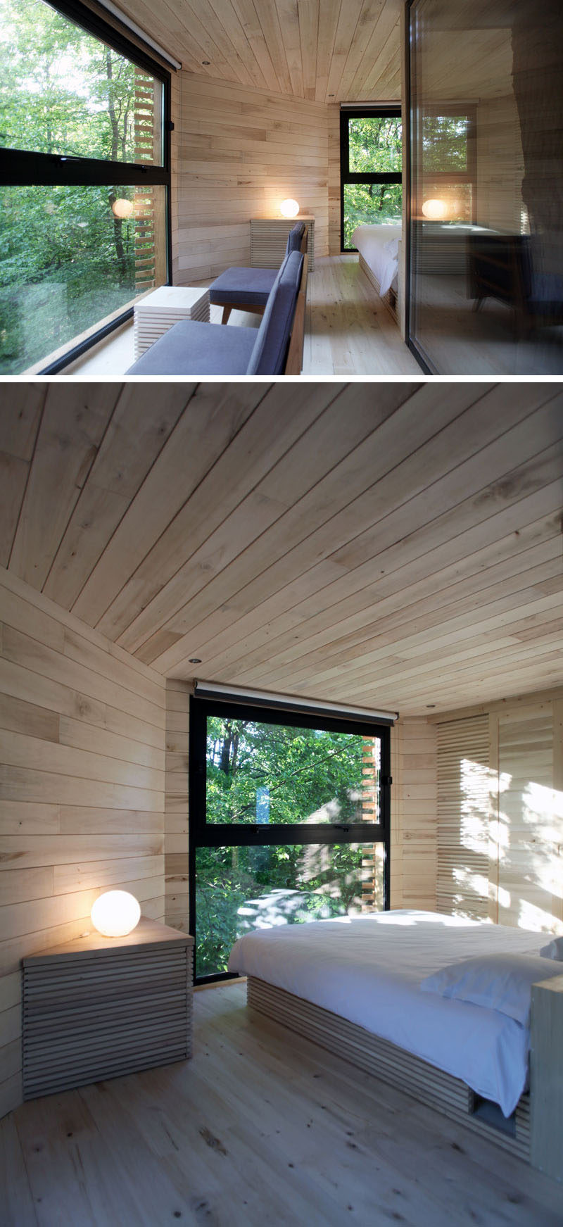 Inside this modern tree house, the wood interior is made from poplar, and a small sitting area and bedroom provide a comfortable place for relaxation. #ModernTreeHouse #Poplar #WoodInterior