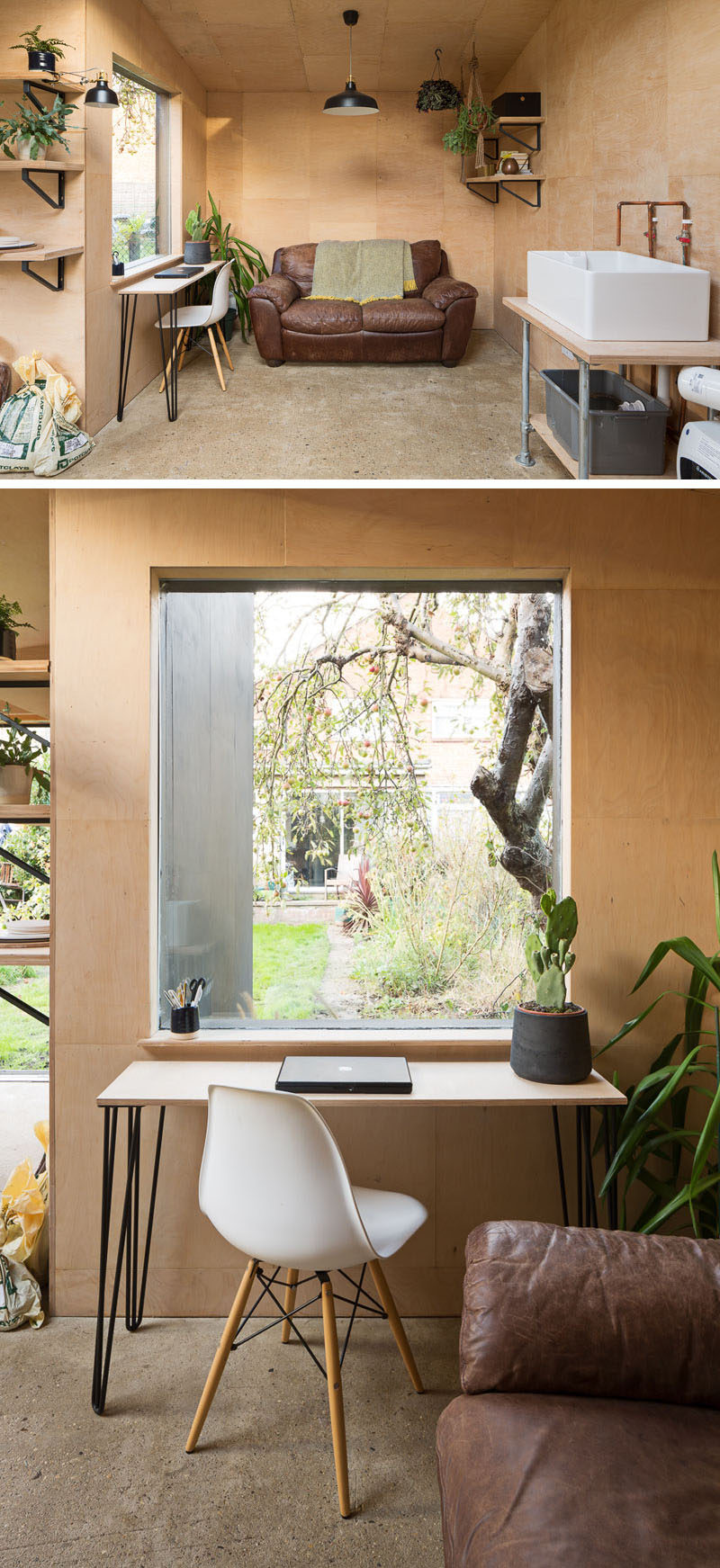 This modern backyard pottery shed also double as a office, with a comfortable couch for relaxing and a narrow desk in front of the window for working. #PotteryShed #BackyardStudio #HomeOffice