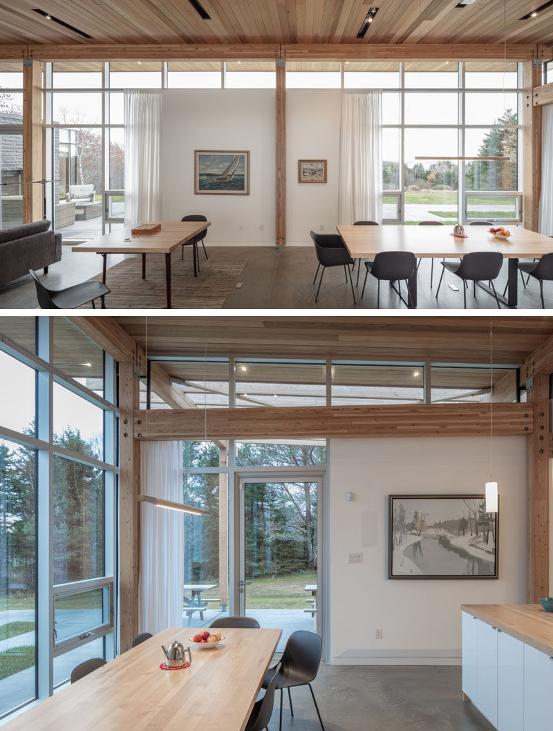 In this modern house, floor-to-ceiling windows provide ocean views and separate tables have been set up so that one can be dedicated to being a games table, and the other a dining table. #DiningRoom #ModernHouse