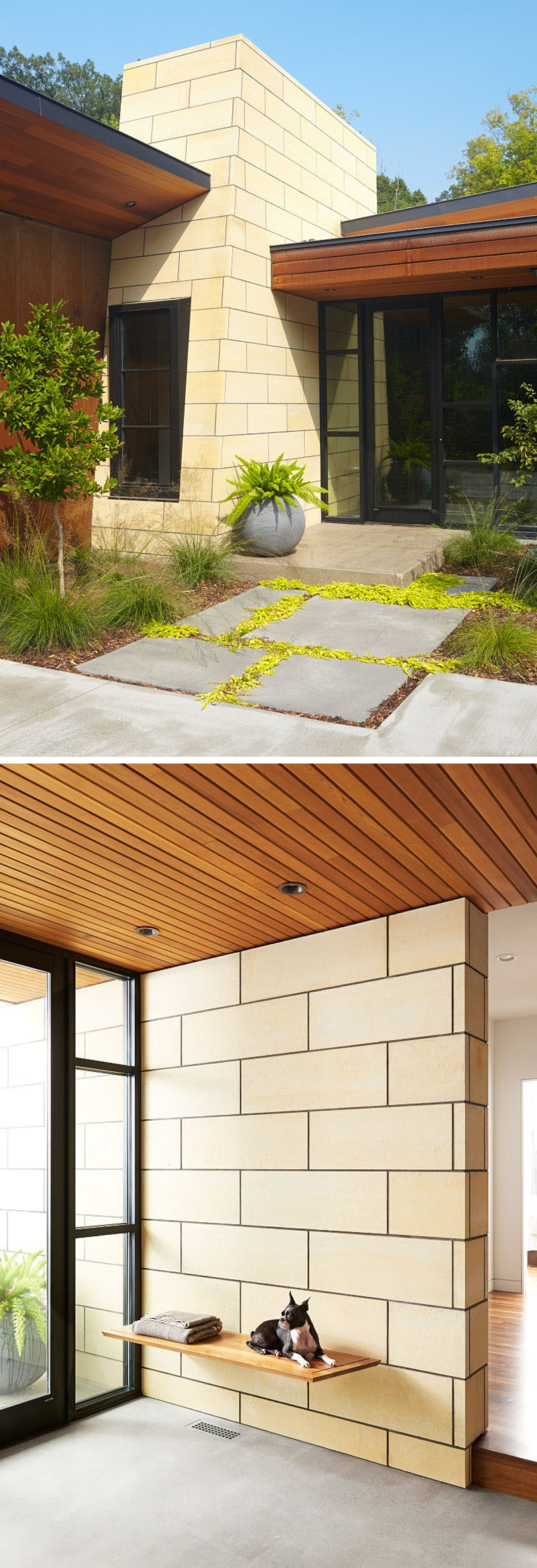 Stepping inside this modern ranch house, the materials from exterior of the home are also used on the interior, like in the entryway, where a floating bench is affixed to a limestone wall. #EntryWay #InteriorDesign