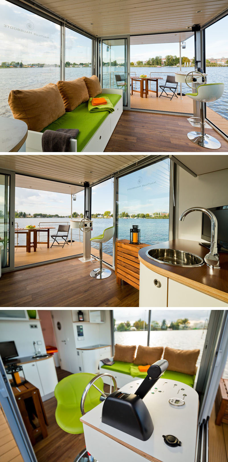 This modern houseboat has large sliding doors that open to create an indoor/outdoor environment. Inside, there's a couch in the living room that can be made into a bed for two. #ModernHouseboat