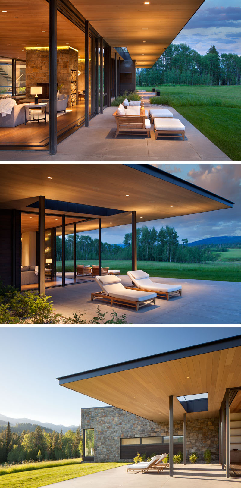 This modern house has sliding glass walls that open the living room to the outdoors, and the wood ceiling featured inside, continues through to the exterior of the house. #ModernHouse #WoodCeiling