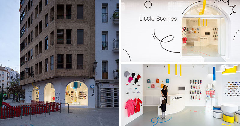 "Creative firm CLAP Studio have designed ""Little Stories"", a modern children's shoe store in Valencia, Spain, that stands out on the street with its bright white facade and interior. #RetailStore #WhiteFacade #StoreDesign"