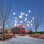The Modern Sculpture In This Plaza Was Inspired By Pomegranate Flowers