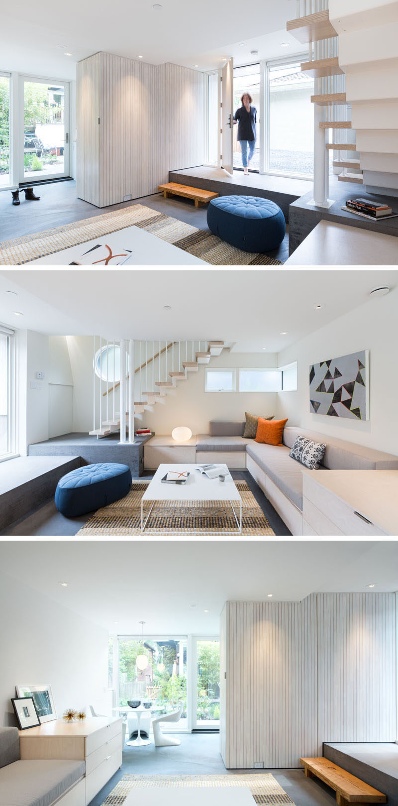 Entering this modern laneway house, there's a step down into the living room. Minimal custom designed furniture and bright white walls make the small space feel larger. #LanewayHouse #SmallLiving #LivingRoom