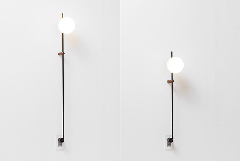 Human home have created the LYNEA Plug Lamp, a floor lamp or side table lamp that's been designed to be plugged straight into an outlet in the wall. #Lighting #FloorLamp #WallLamp #Design
