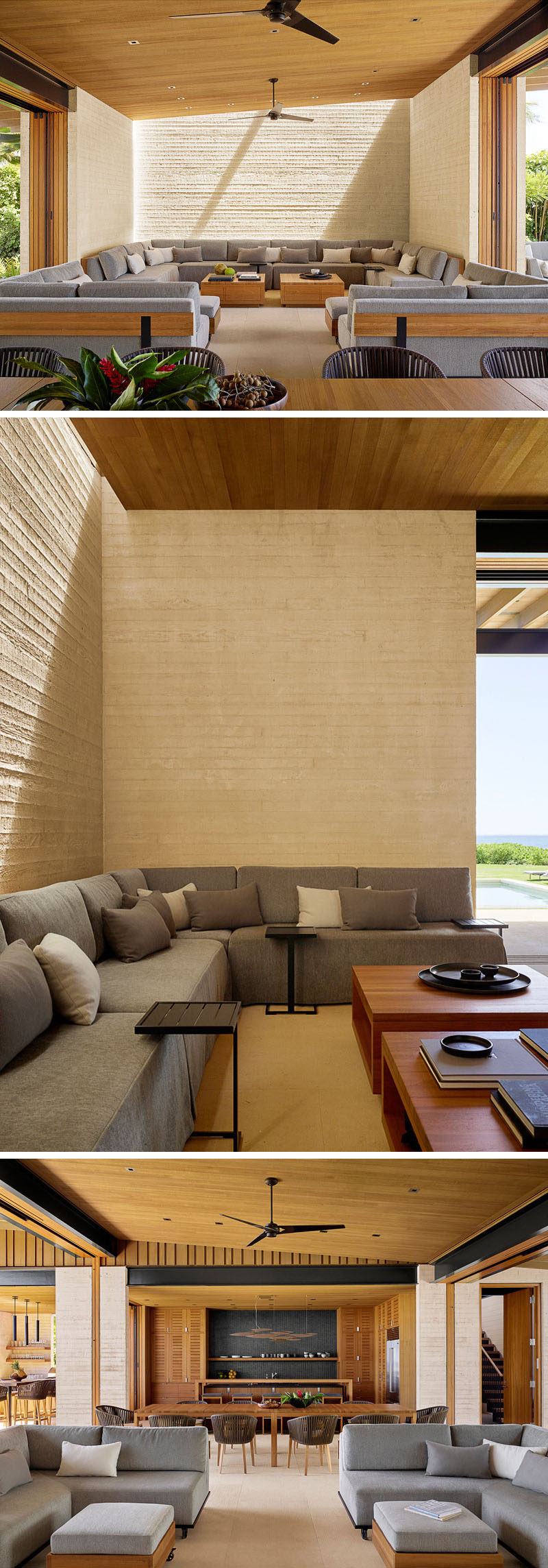 Inside this open beach house, there's a custom couch design that fits in one end of the room. Light sand colored walls, wood and grey furniture create a relaxed and comfortable space. #LivingRoom #OpenPlanLiving
