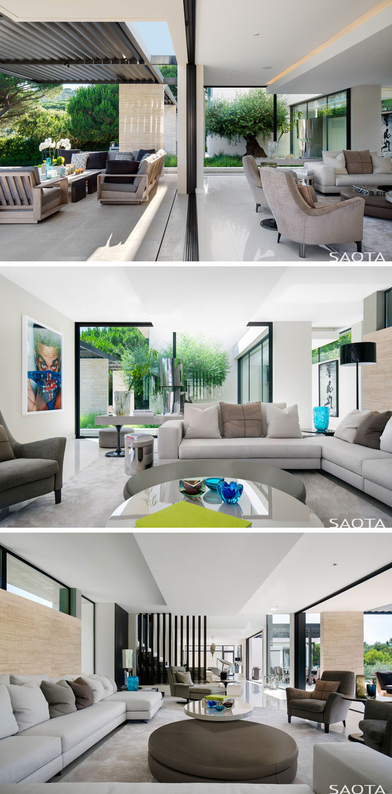 The interior spaces of this modern house open up to the terrace, creating a seamless indoor/outdoor living experience. In the living room, comfortable furnishings surround a coffee table. #ModernLivingRoom #LivingRoom