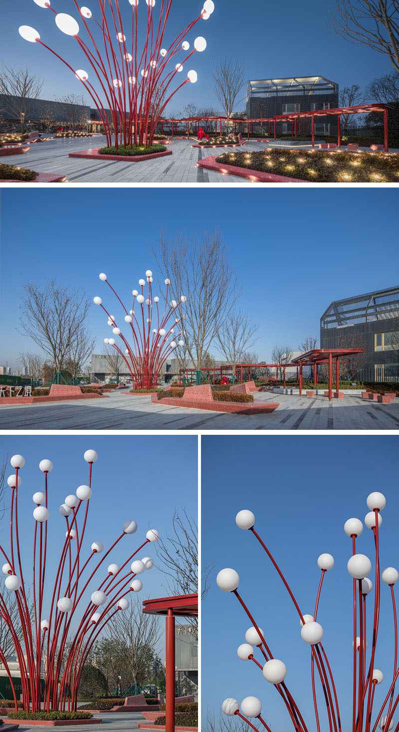 In the center of this public plaza is the Pomegranate Flower, a light sculpture inspired by the stamens of the pomegranate flower. #Sculpture #Art #Park #PublicArt