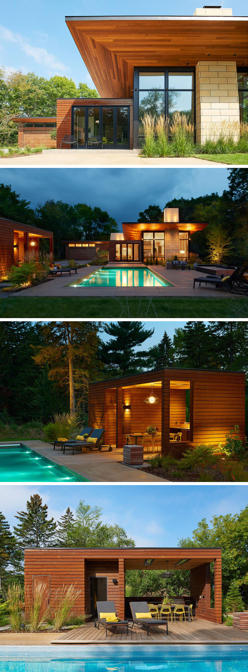 This modern ranch house has an outdoor space with a swimming pool, deck and cabana with an outdoor kitchen and dining area. Looking back at the house, the cantilevered roof plane shields the living spaces from the summer sun. #SwimmingPool #Cabana #ModernArchitecture