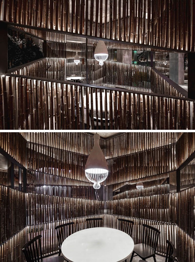 Bamboo has been heavily used throughout this modern restaurant. In the dining areas, bamboo is used to create private spaces for small groups. #ModernRestaurant #Bamboo #RestaurantDesign