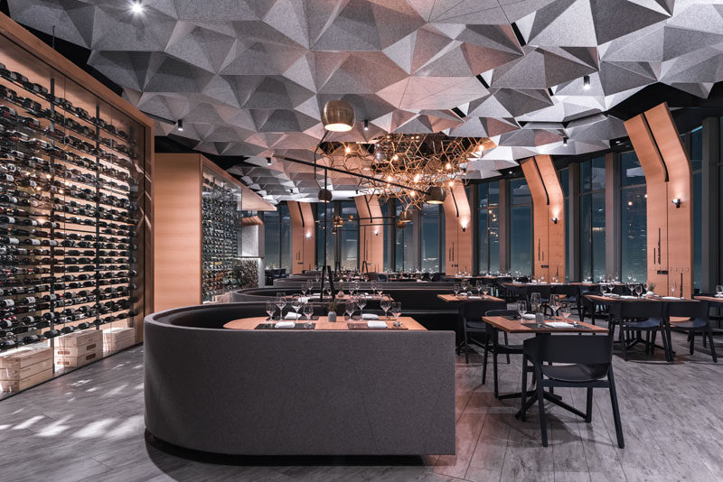 Tag Front Architects have designed 71 Above, a modern restaurant in Los Angeles, California, thatwraps around the entire top floor of the US Bank Tower and has 360 degree views. #RestaurantDesign #Restaurant