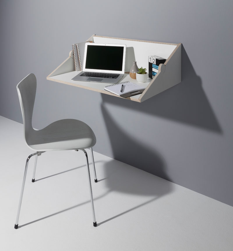 Berlin based designer Michael Hilgers has created TWOFOLD, a compact wall shelf that can be transformed into a wall desk. #Design #Furniture #Shelving #WallDesk