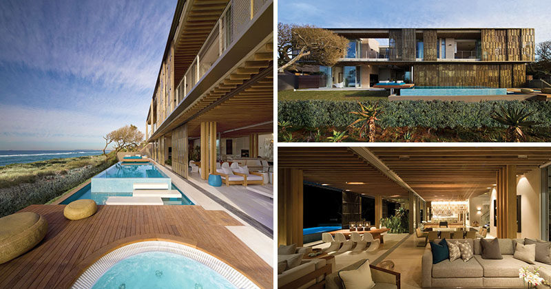 SAOTA and ARRCC have completed a new modern house in La Lucia, South Africa, that has bronzed anodized aluminium sliding screens on its facade. #ModernHouse #SwimmingPool