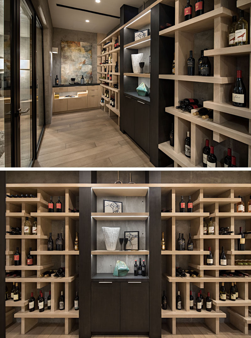 This modern wine cellar has open shelves that create plenty of space for the home owners to display their wine collection. #WineCellar #WineStorage