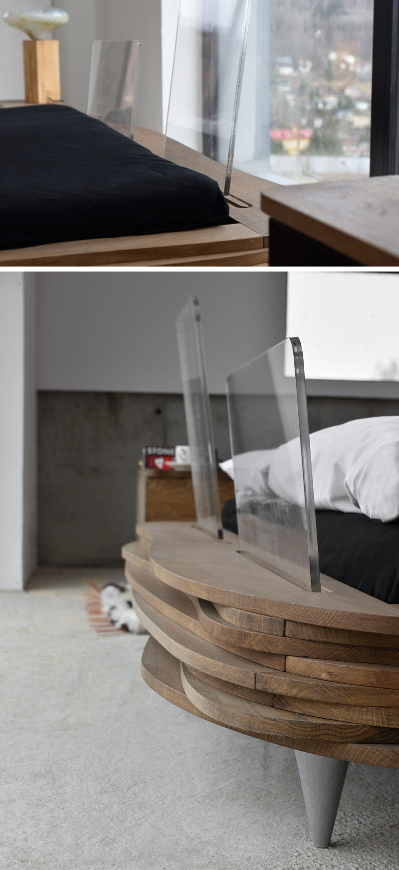 ORGANIQUE is a modern wood bed by furniture design brand Gie El, and it's made from wavy layers of natural oak wood with a transparent headboard. #ModernBed #WoodBedFrame