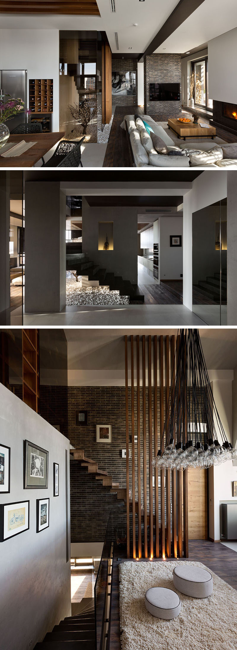 A centrally located wood staircase that connects all three floors of this modern penthouse apartment. #WoodStairs #Stairs
