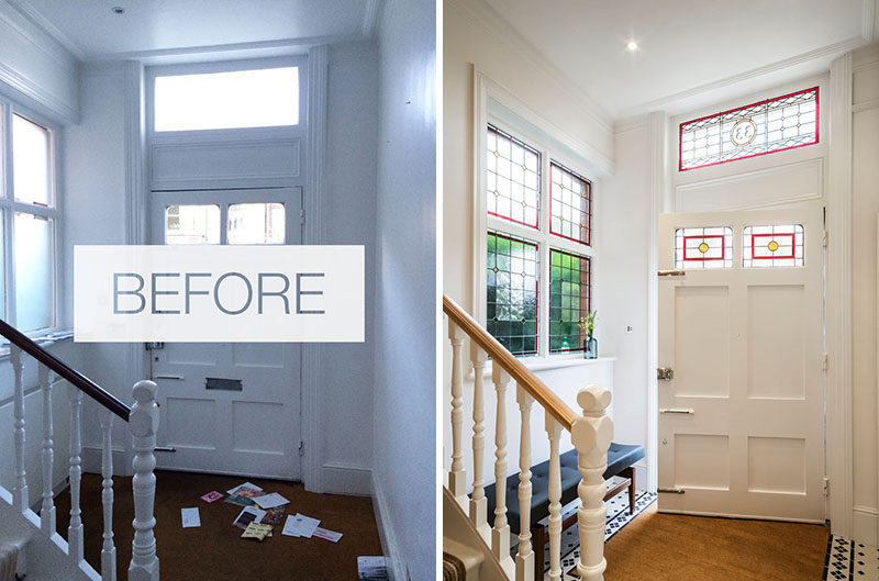 This refurbished house has has stained glass added in the fan light window above the front door and side window, in a bespoke design, bringing light, color and texture into the hallway.