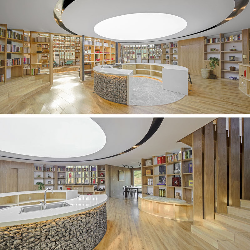 This visitors centre in China has an open kitchen area that creates a shared space for guests to cook together. #OpenKitchen #InteriorDesign