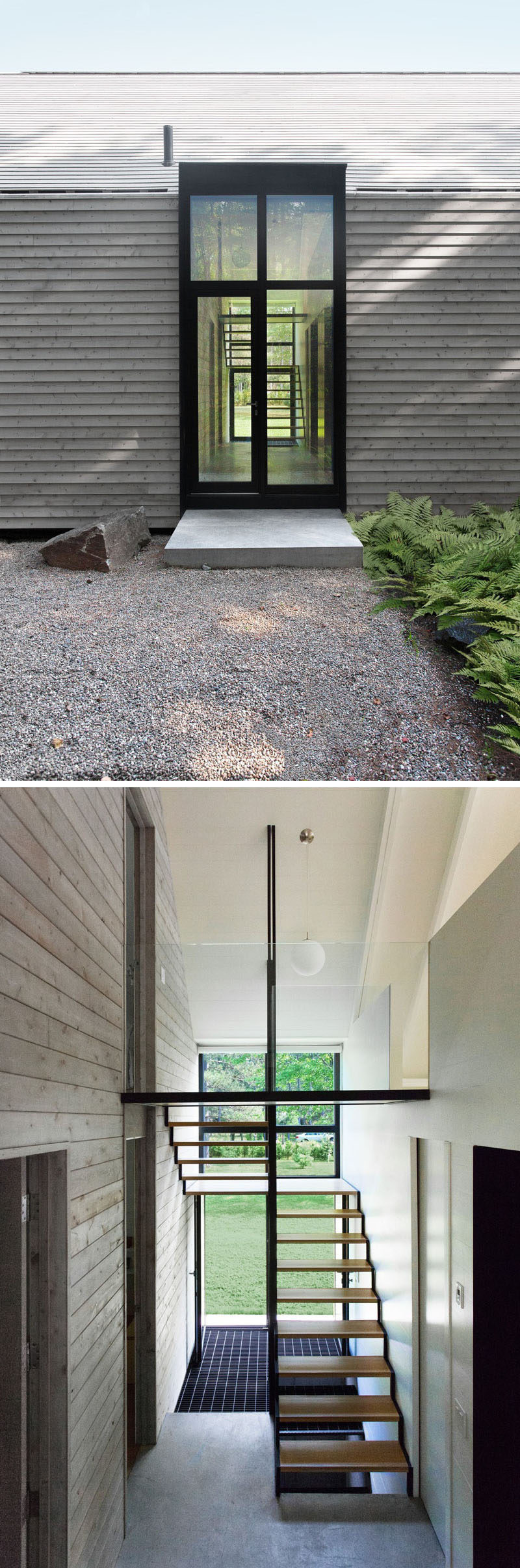 This modern vacation house features wood construction on both the exterior and interior, with a single large gable that covers all of the living spaces. Stepping inside, there's a staircase that connects the various floors of the home. #Entryway #Stairs