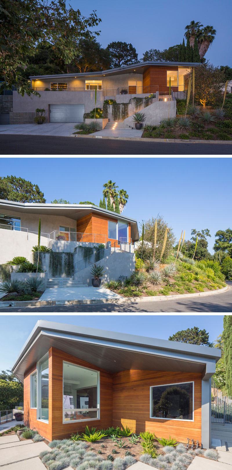 ANX (Aaron Neubert Architects, Inc.) have designed a new house that sits on a hill in the Bel-Air neighborhood of Los Angeles, California. #ContemporaryHouse #Architecture