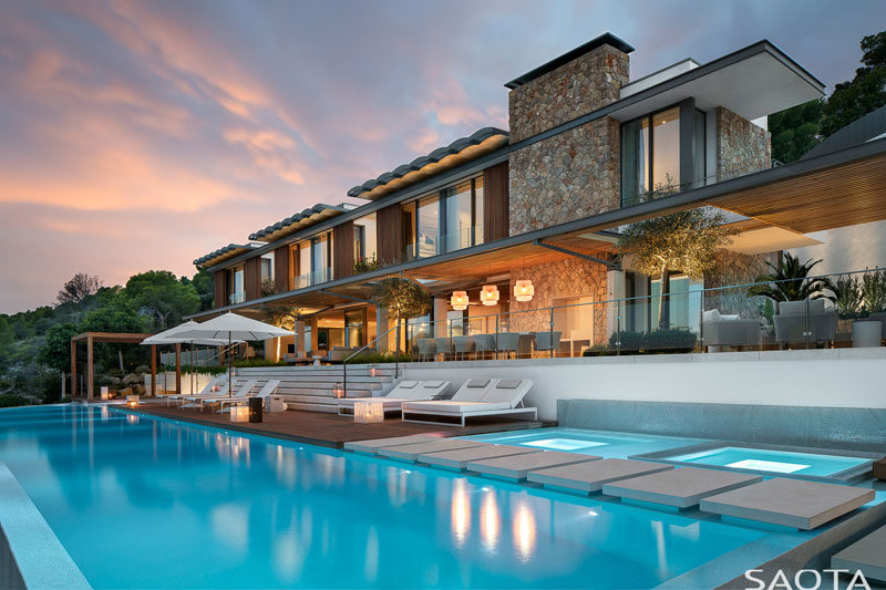 SAOTA have recently completed their first house inMallorca, Spain, that's a relaxed resort-style home and work environment that reflects a contemporary take on the local architecture. #ModernHouse #Architecture