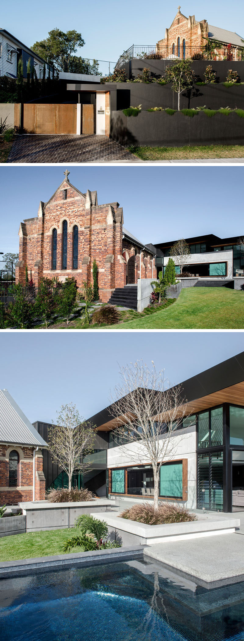 Architecture firm DAHA have completed the 'Church House', a 2 storey hillside residential extension and adaptation of the heritage listed 'Church of Transfiguration', that's located in Brisbane, Australia. #ChurchRenovation #Architecture #ModernHouse