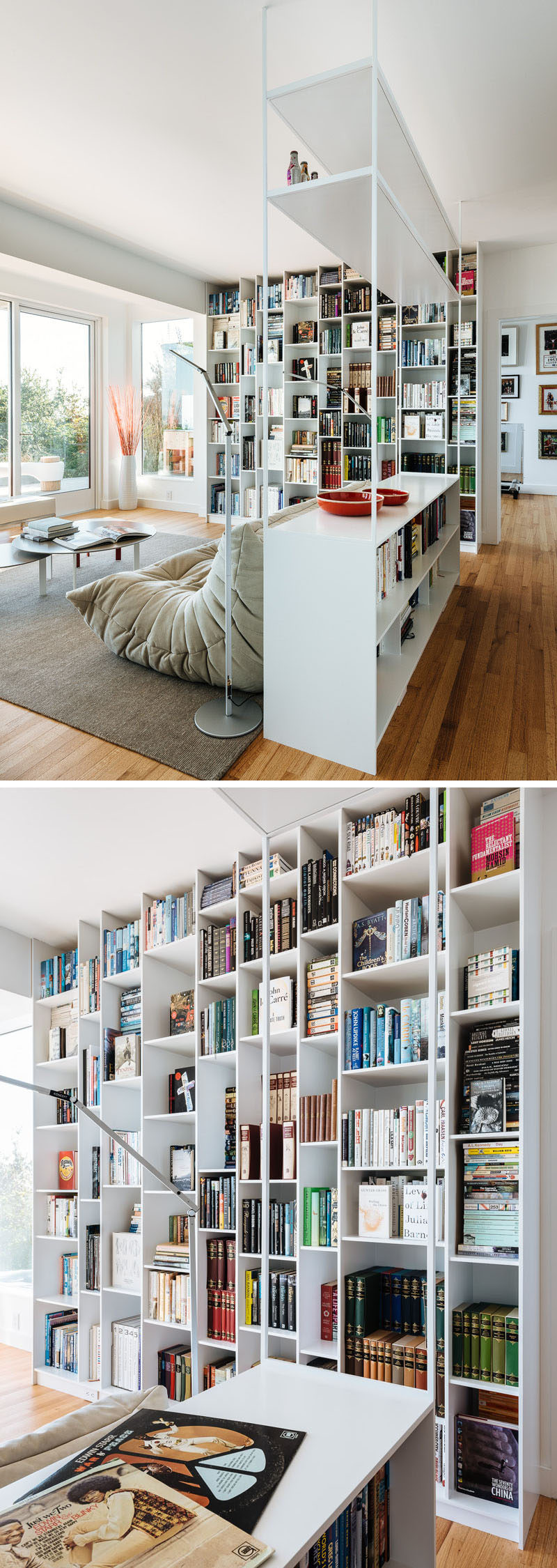 This modern interior has a floor-to-ceiling bookshelf that measures in at 9 feet tall and has asymmetrical compartments so every item has a place of significance. #Shelving #Bookshelf