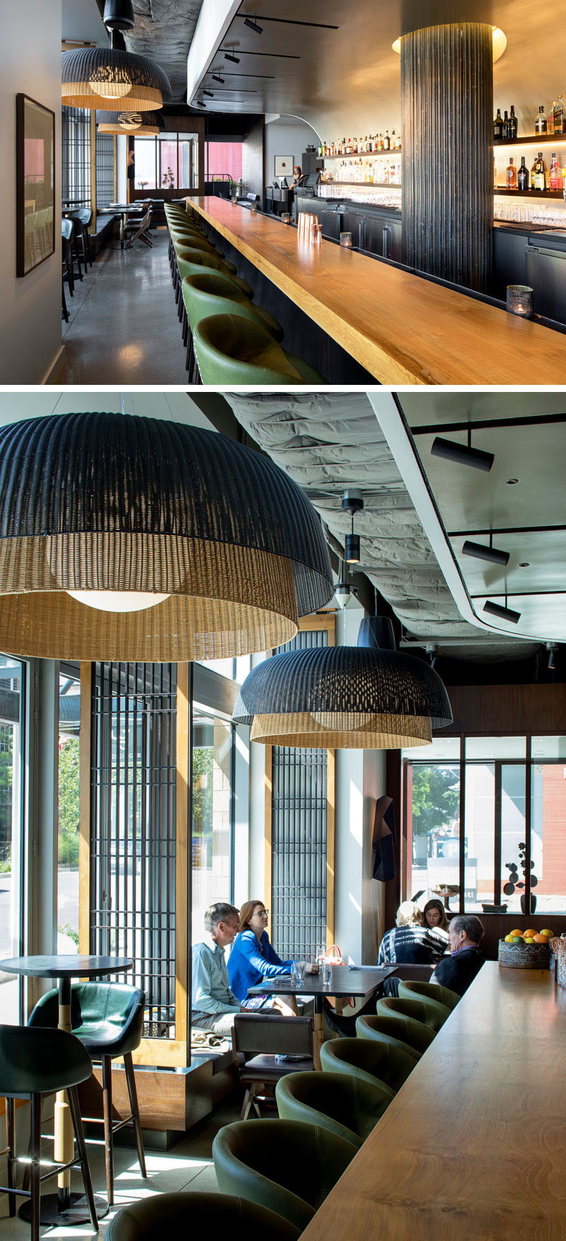 The bar top in this modern restaurant is made of polished teak, while custom-designed lights recall traditional woven fishing baskets.#WoodBarTop #TeakBar