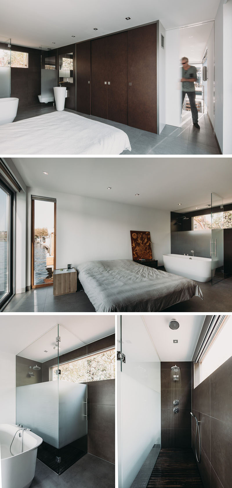 This simple and modern bedroom and bathroom share the same space with a partially frosted glass wall separating the shower and toilet from the rest of the room. #Bedroom #Bathroom