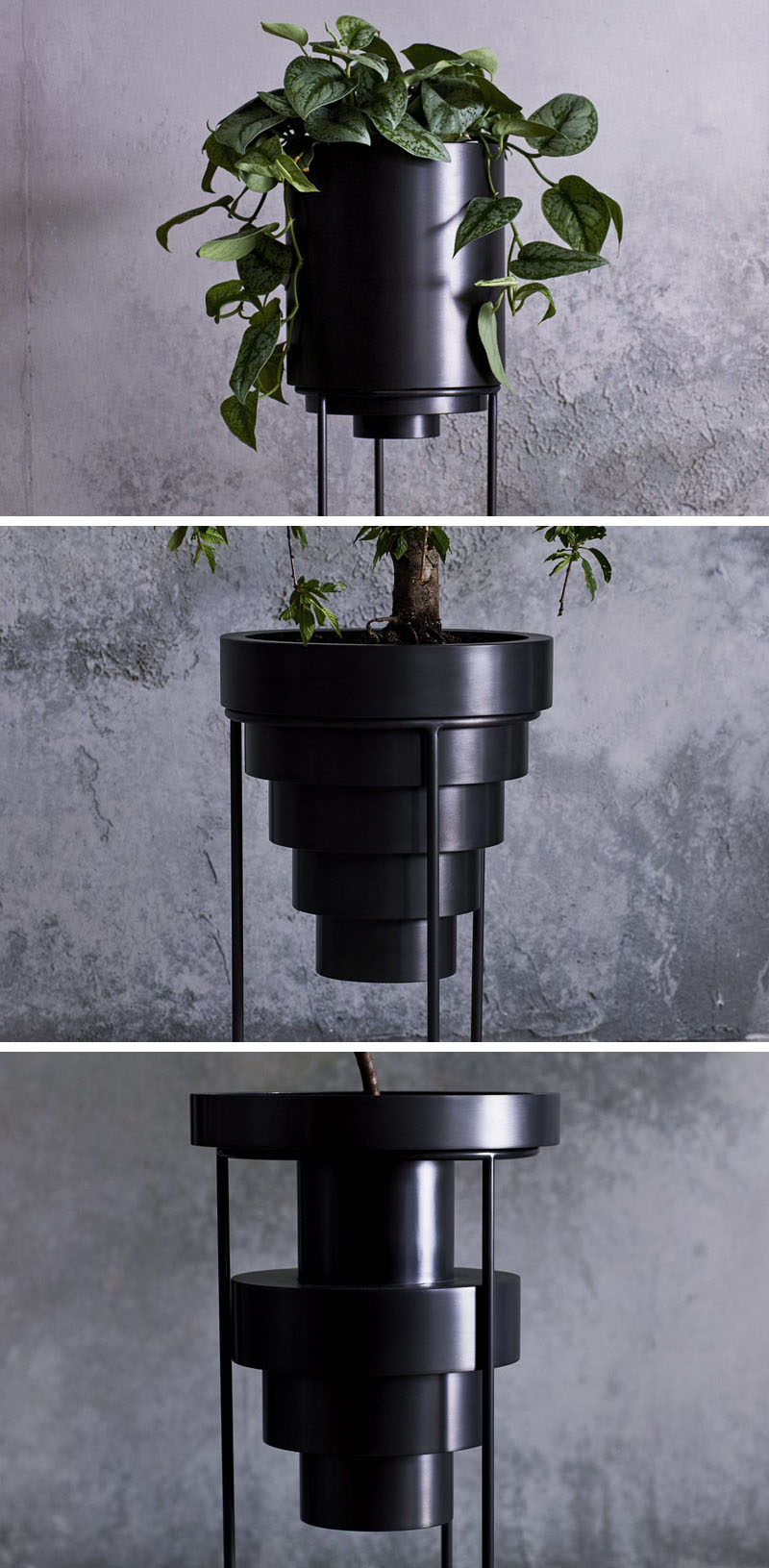 New York based designer and artist Anna Karlin, has created a collection of modern plant stands named 'Layered Planters', that are made from cold rolled stainless steel. #ModernPlanters #MinimalistHomeDecor