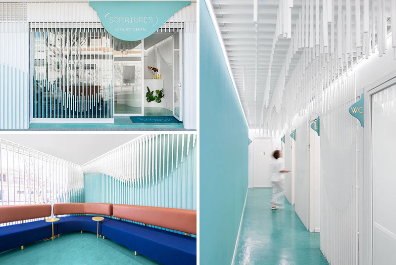 this dental clinic interior design features a sculpture made from
